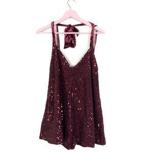 Free People sparkle & shine sequin velvet romper S